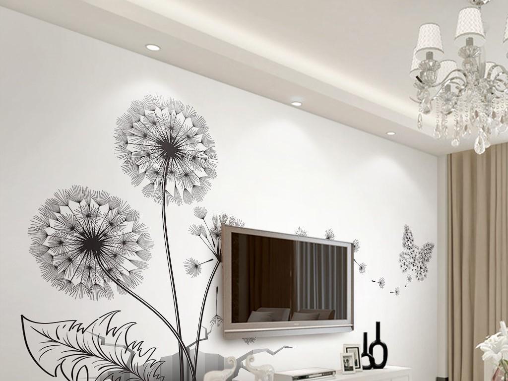 创意蒲公英蝴蝶破墙现代简约3d电视背景墙图片