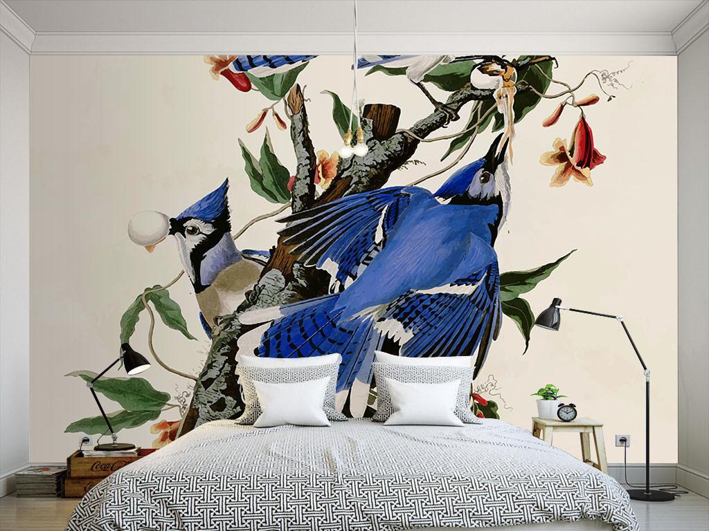 效果图室内装饰室内设计展板室内个性美式花鸟花鸟手绘欧式花纹墙纸室图片
