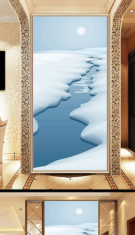 立体3d玄关图雪地背景墙走廊沙发客厅壁画图片
