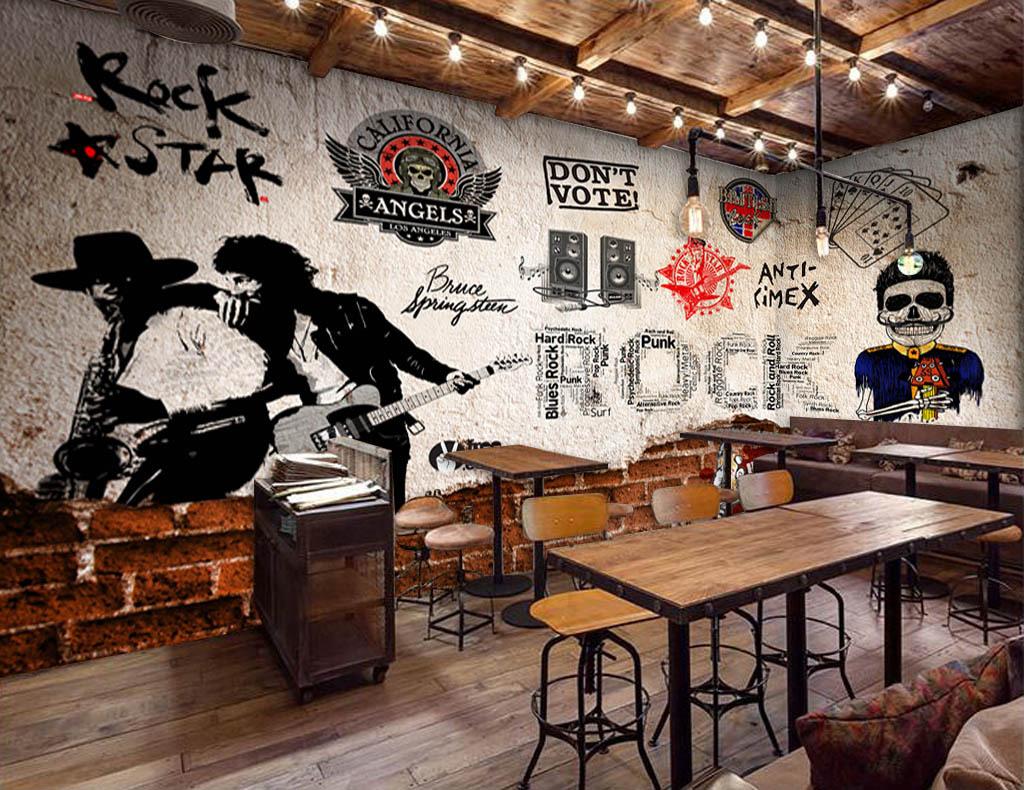 工裝壁畫壁紙現代3d立體歐美木板墻壁懷舊復古墻壁紅磚墻音樂酒吧