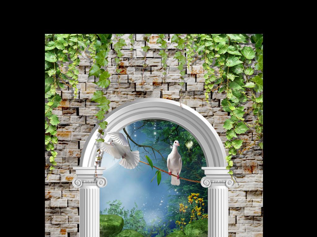 墙砖拱门外梦幻森林林间小路玄关