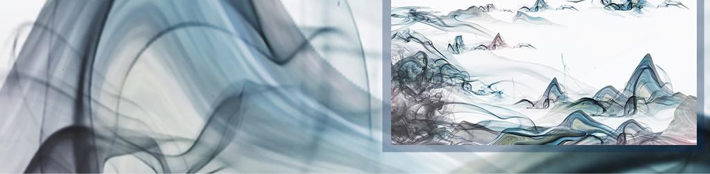 新中式梦幻烟雾抽象山水风景画意境背景墙