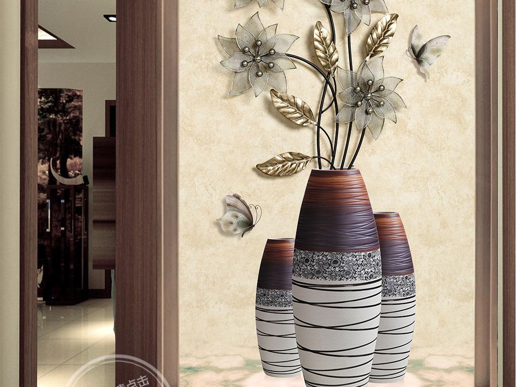 花瓶珠宝背景玄关背景墙瓷砖欧式玄关背景墙牡丹玄关背景墙山水玄关