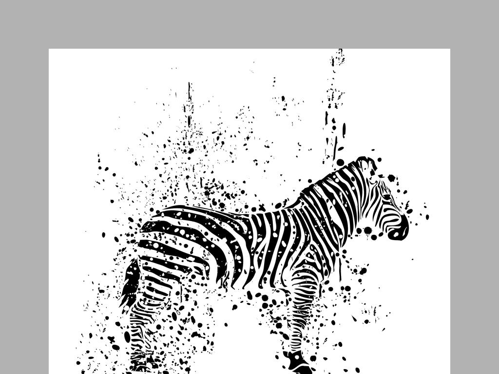 作品模板源文件可以编辑替换,设计作品简介: 现代简约黑白抽象动物