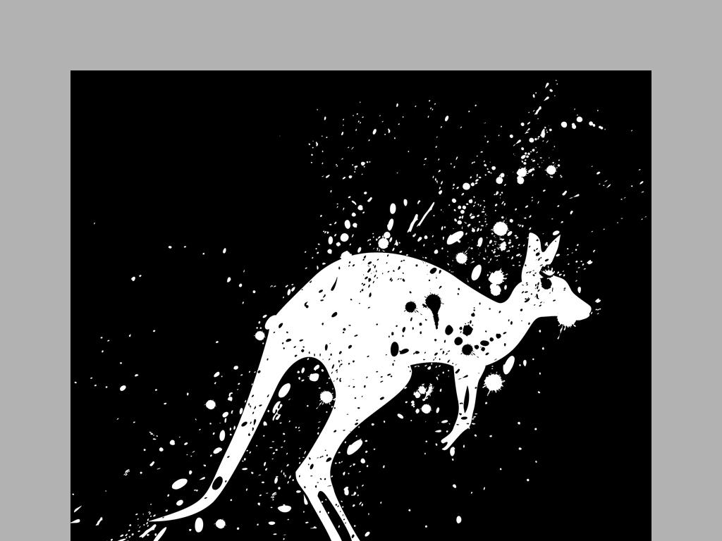 现代简约黑白抽象动物剪影四联画