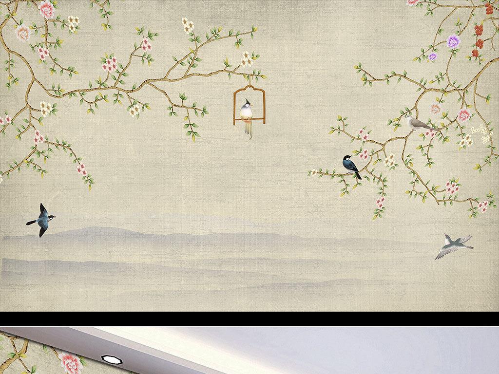 背景墙 装饰画 电视背景墙 手绘电视背景墙 > 工笔花鸟  版权图片