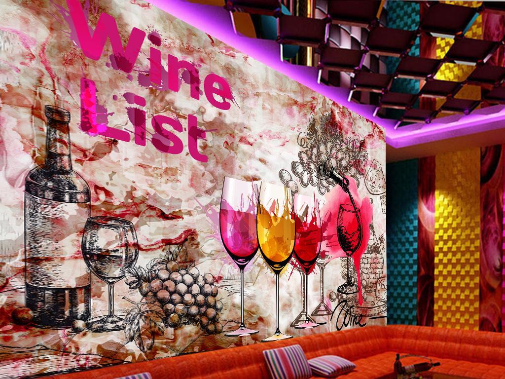 红酒手绘涂鸦工装背景墙