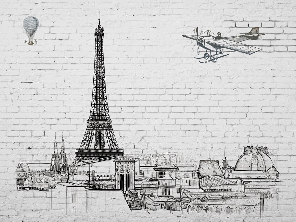 巴黎埃菲尔铁塔欧式风格线稿手绘