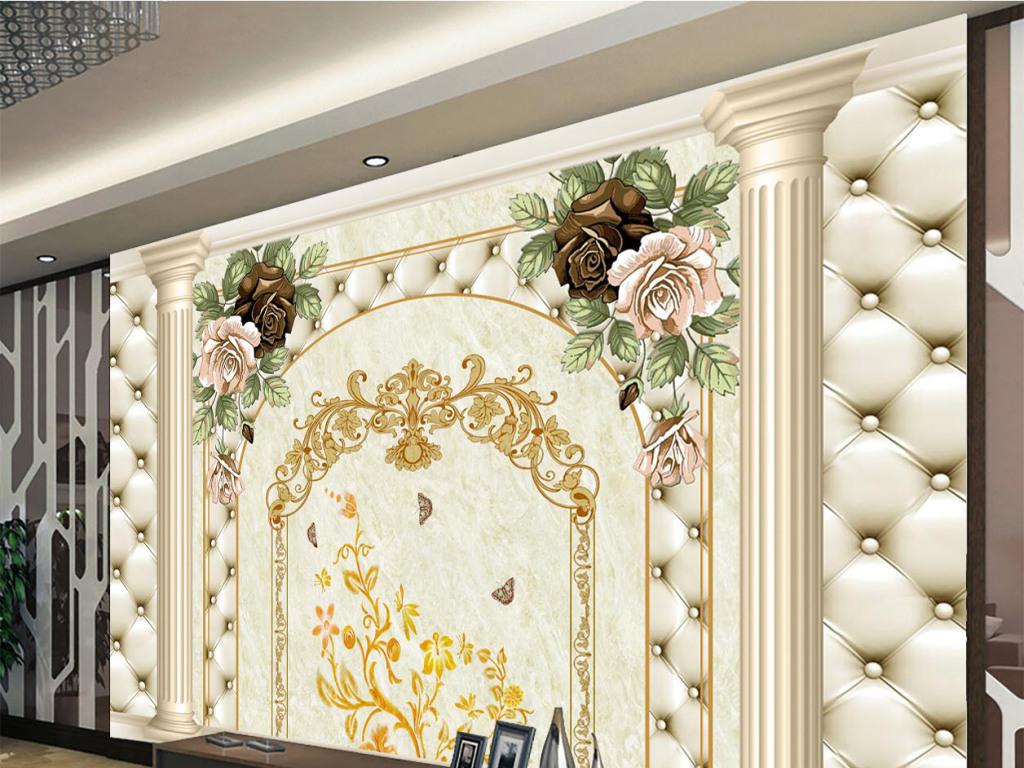 欧式花纹罗马柱软包电视背景墙