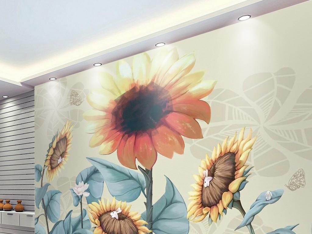 手绘复古向日葵电视背景墙