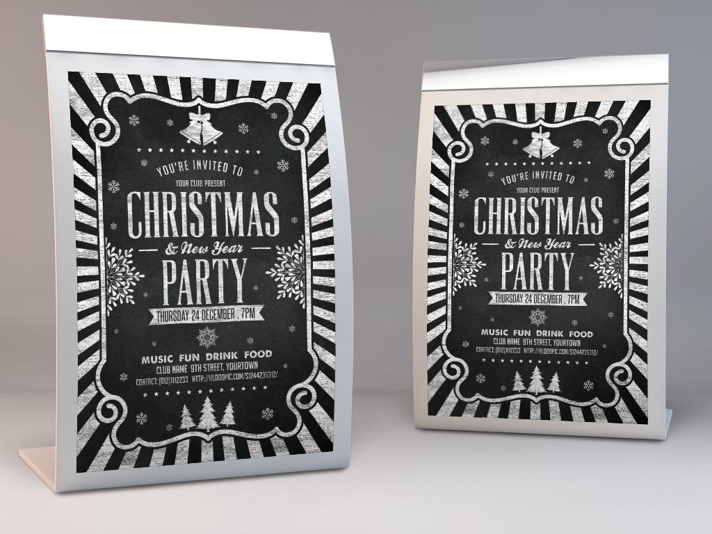 简约文艺粉笔黑板手绘圣诞节活动宣传海报