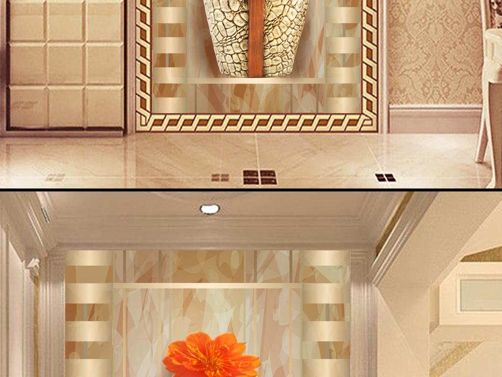 电视机背景墙屏风隔断门厅挂画壁画形象墙中堂画装饰画3d玄关花瓶玄关