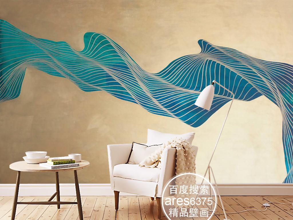 抽象变换的金属线欧式现代绘画壁画背景墙(图片编号:)图片