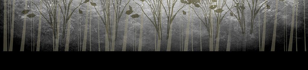 灰色系简约手绘风景背景墙