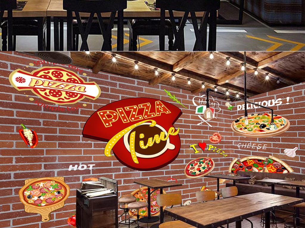 复古披萨西餐厅砖墙涂鸦工装背景墙