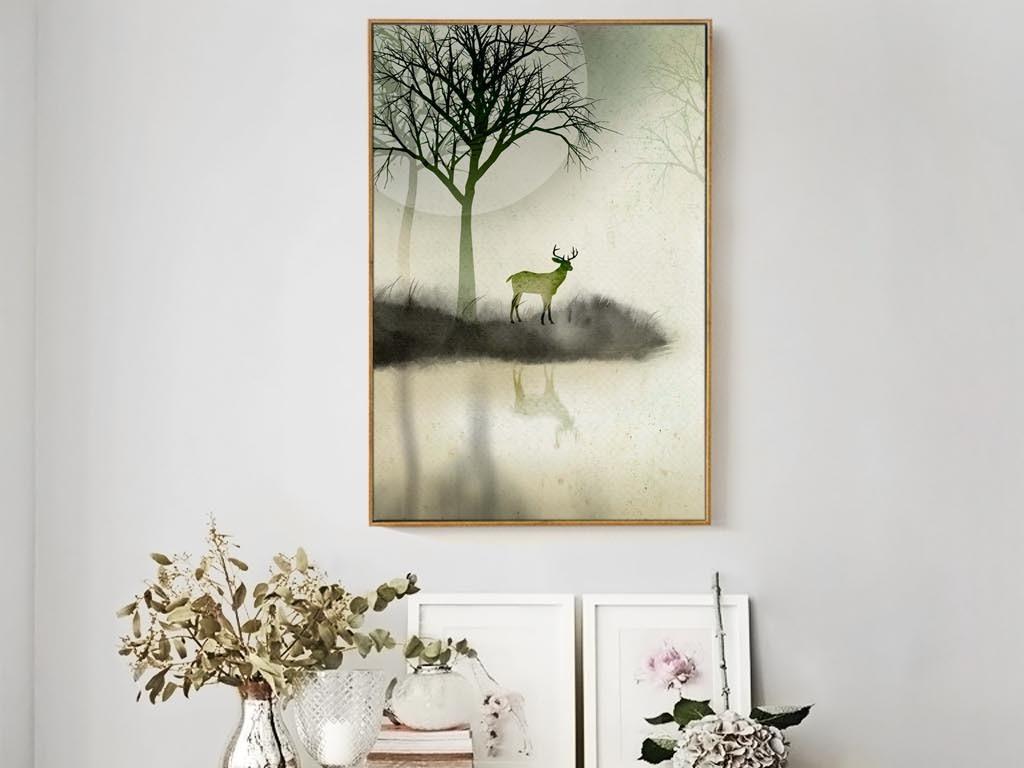 咖啡厅画单张挂画鹿装饰画麋鹿北欧装饰画简约装饰画梦幻北欧麋鹿麋鹿