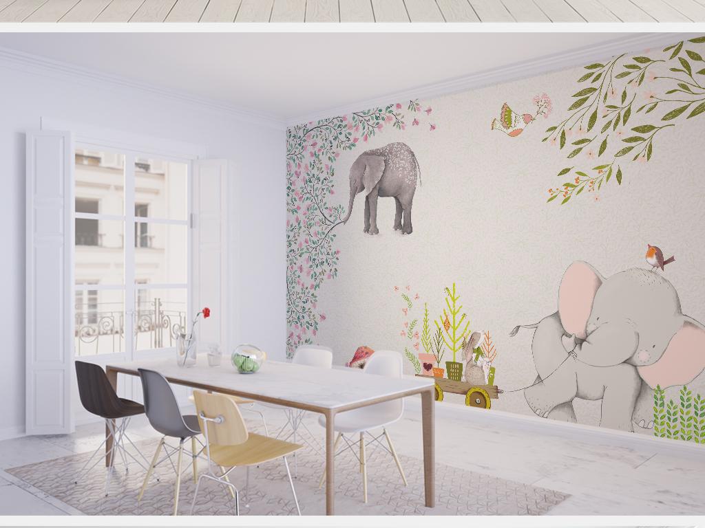 简约小清新大象欧式电视背景墙