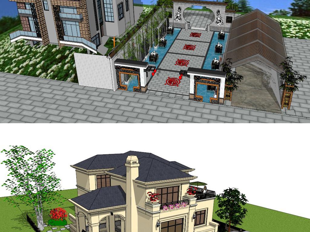 私家庭院别墅花园屋顶花园su模型设计图下载(图片461.图片