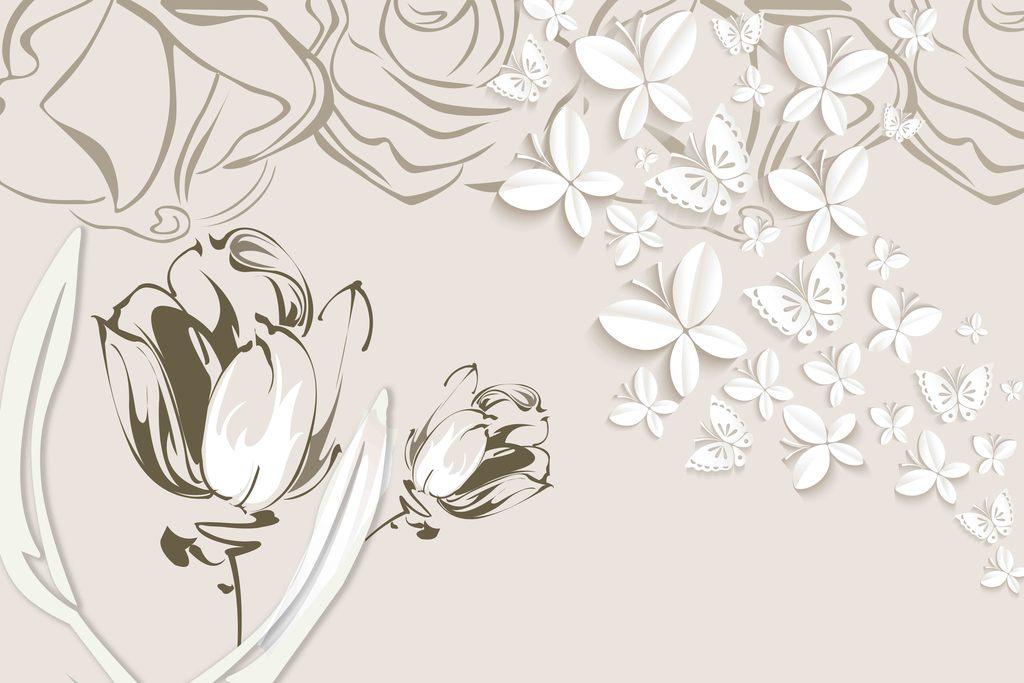 玫瑰线条                                  立体蝴蝶