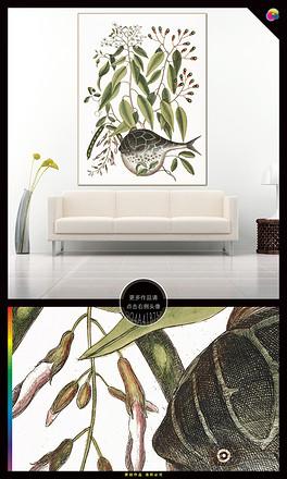 手绘北欧现代简约植物花卉水彩插画无框画-JPG简笔画小手