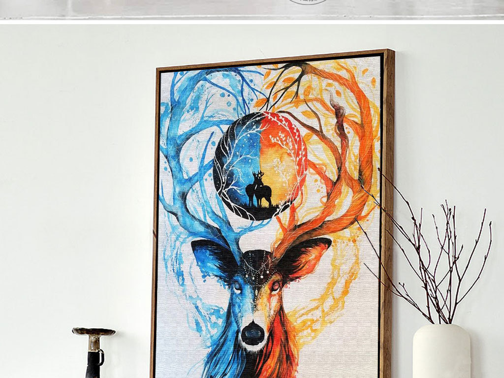 森系麋鹿水彩手绘