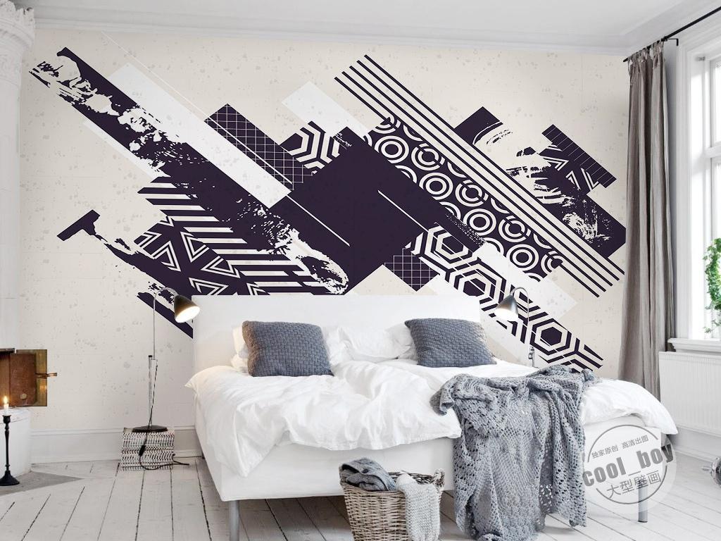 北欧简约时尚手绘简单图案卡通图形背景墙