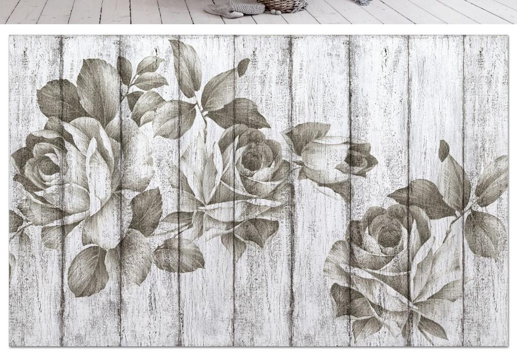 素色木板纹理素描玫瑰花简约3d电视背景墙图片