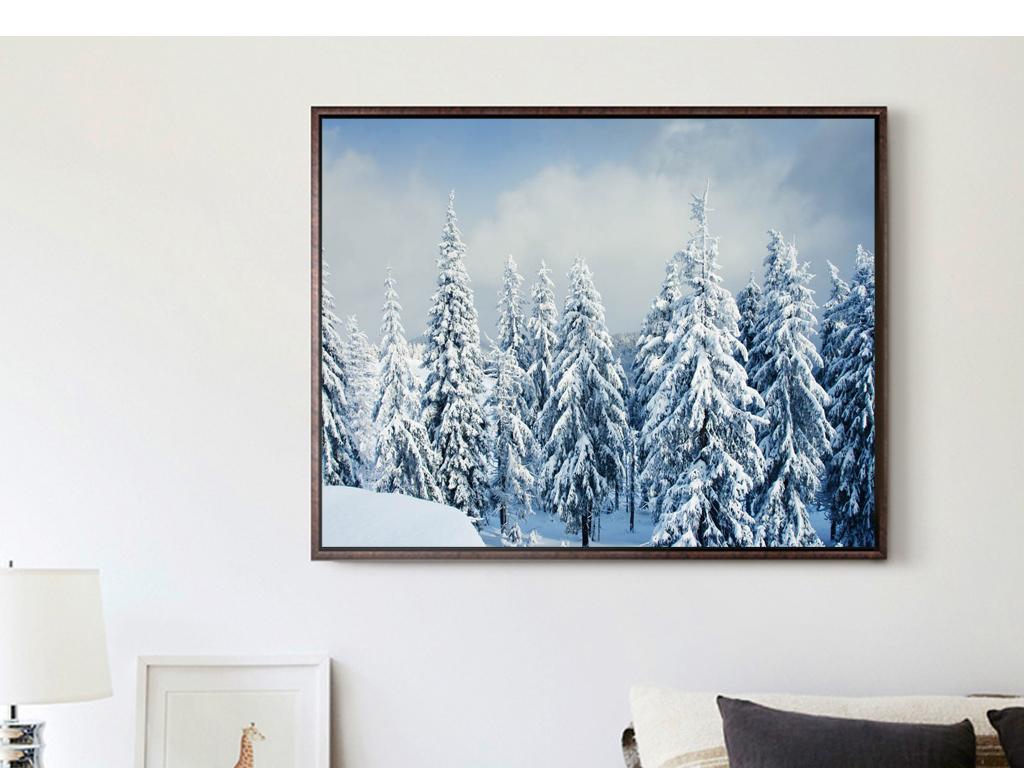 巨幅冬天冬季树木森林针叶树装饰画
