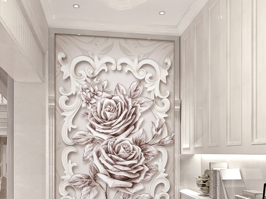 tif分层)2017新款豪华欧式玄关壁画进门正对装饰画入户门厅瓷砖画