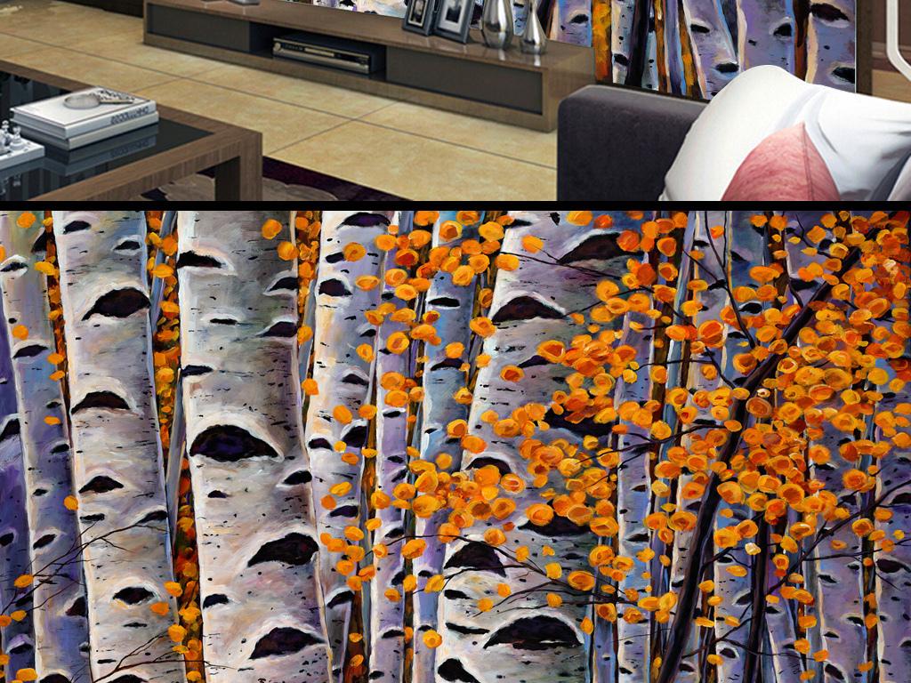 欧美复古怀旧抽象森林梧桐树林油画背景墙