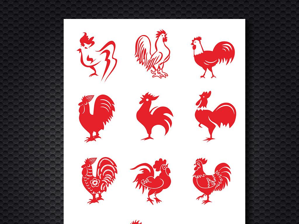 公鸡矢量图鸡年素材下载