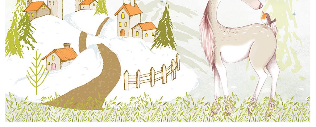 现代时尚北欧简约手绘森林小屋雪地背景墙