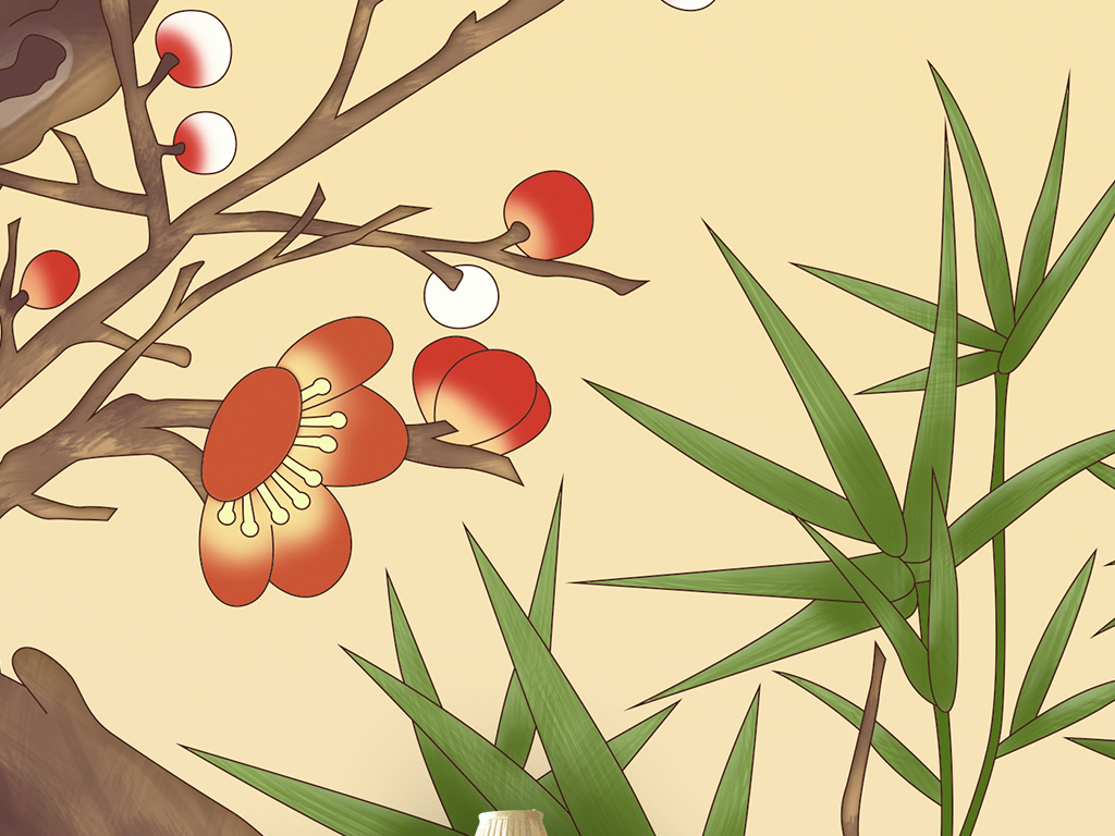 手绘梅花中式背景墙壁画软包屏风装饰画图片设计素材