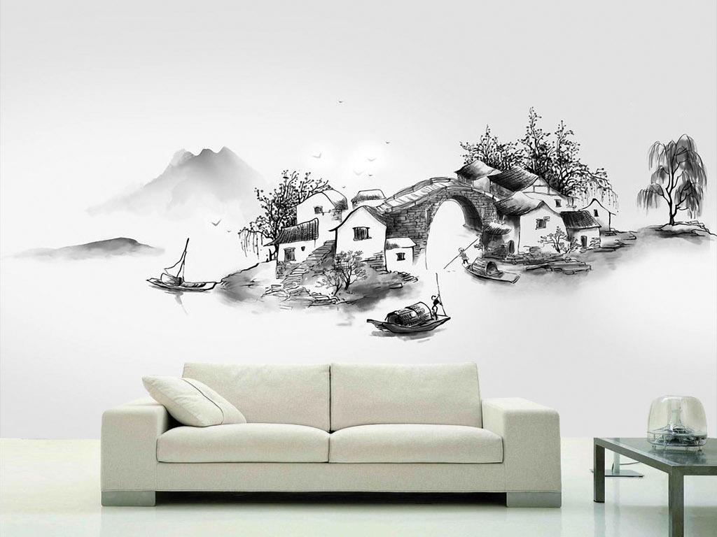 印象江南拱桥远山风景手绘水墨画背景墙壁画