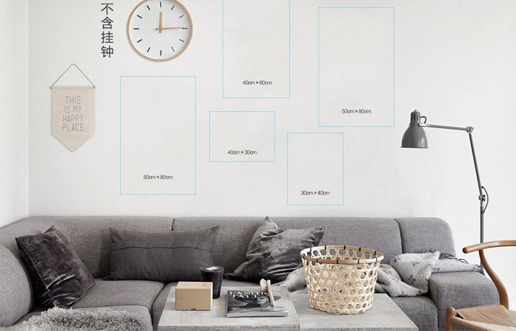 北欧风格客厅装饰画黑白画无框画极简黑白装饰画抽象
