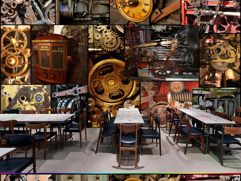 欧式复古工业风金属齿轮咖啡馆餐厅酒吧壁画