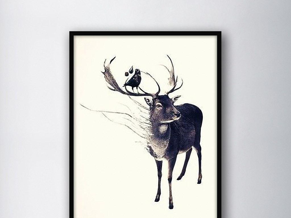 背景墙|装饰画 无框画 动物图案无框画 > 麋鹿小鸟北欧简约手绘水彩