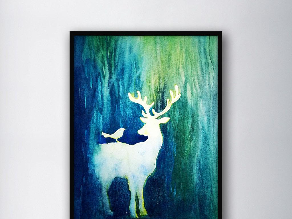 北欧流行时尚手绘水彩麋鹿现代家居装饰画