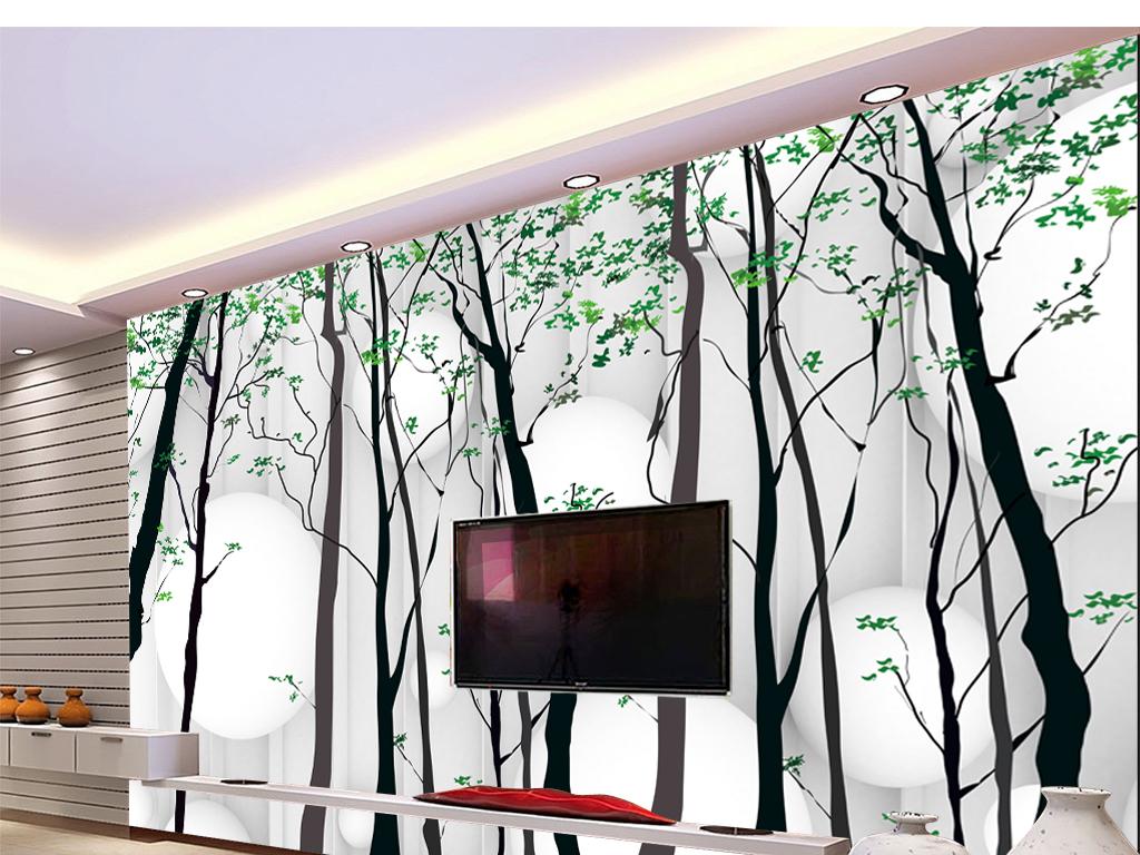 背景墙|装饰画 电视背景墙 手绘电视背景墙 > 手绘树电视背景墙  版权