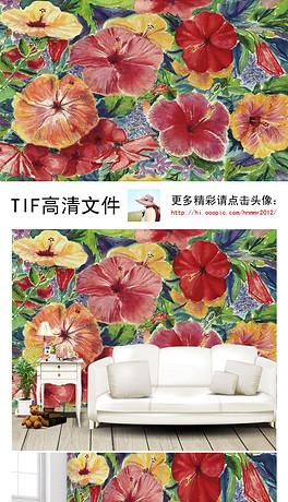 手绘唯美红色锦簇花朵花园电视背景墙