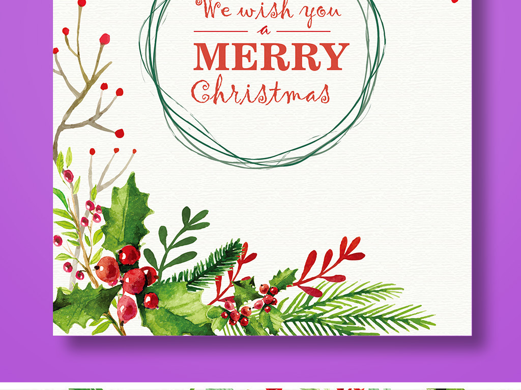 平面|广告设计 海报设计 国外创意海报 > 手绘水彩矢量文艺圣诞节贺卡