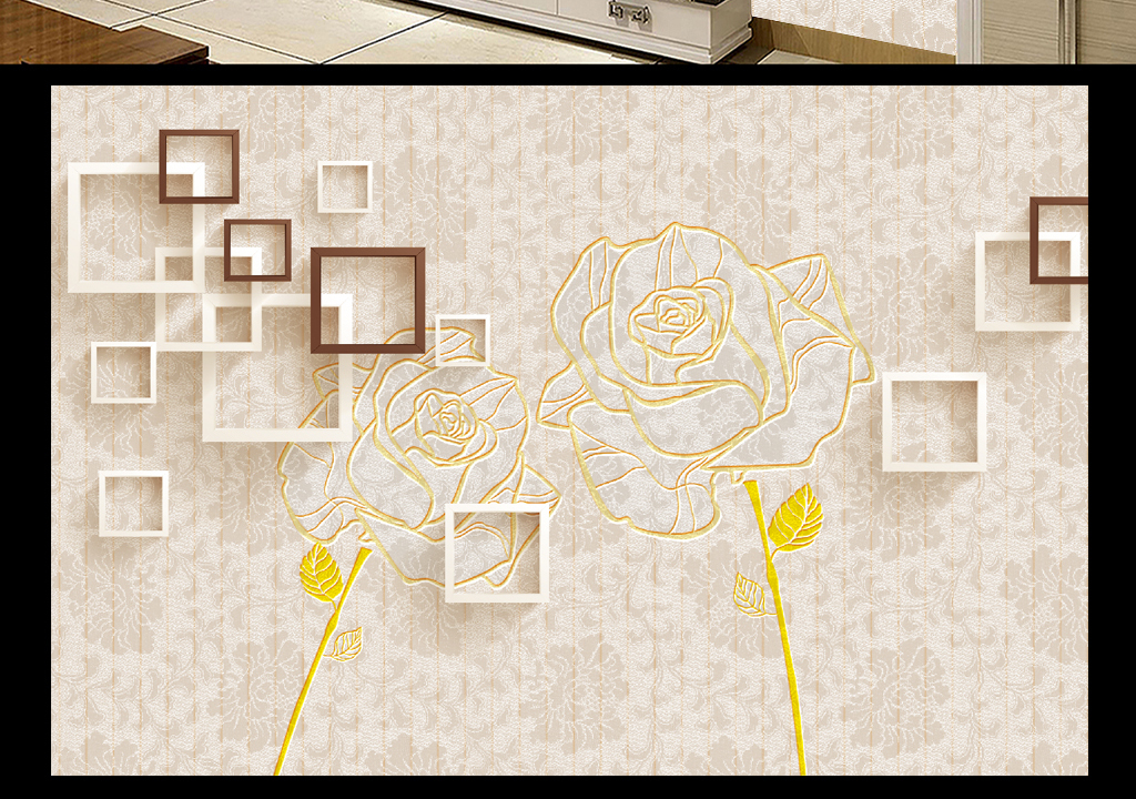 3d方框欧式手绘玫瑰花客厅电视背景墙