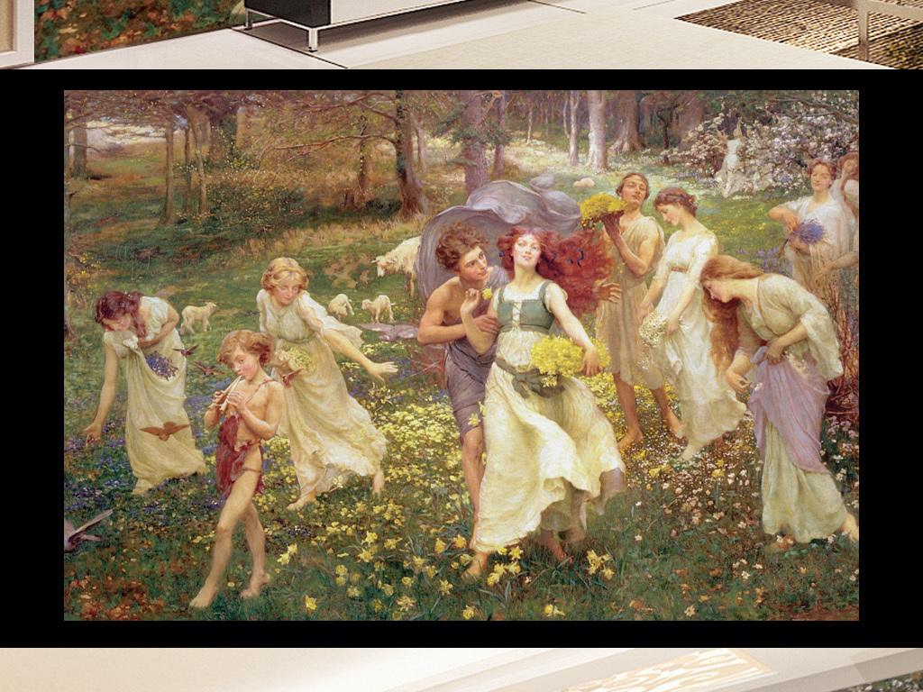 背景墙|装饰画 电视背景墙 欧式电视背景墙 > 古典人物油画采花跳舞的