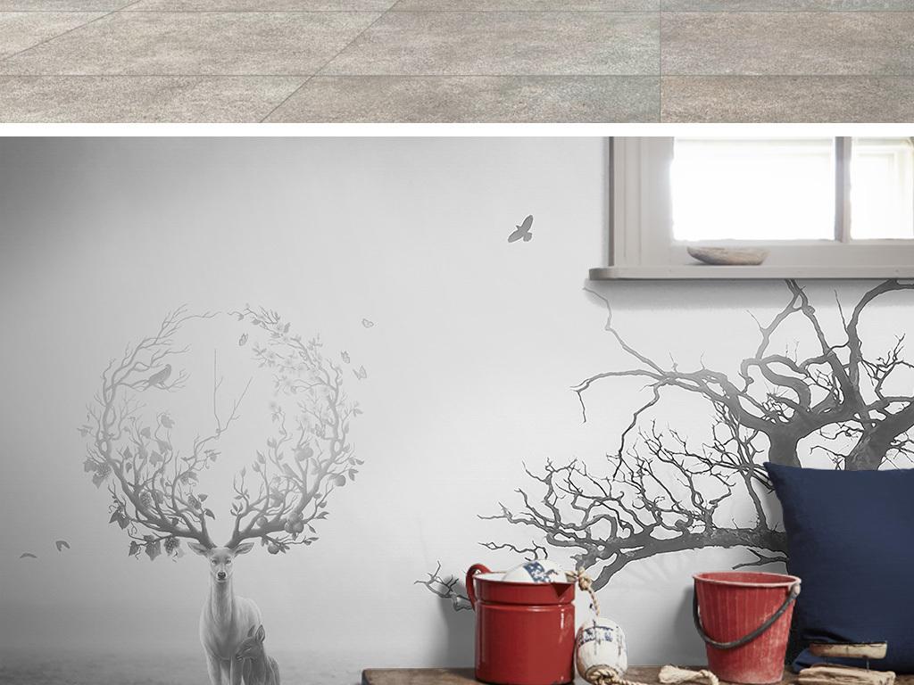 背景墙|装饰画 电视背景墙 现代简约电视背景墙 > 北欧黑白意境麋鹿