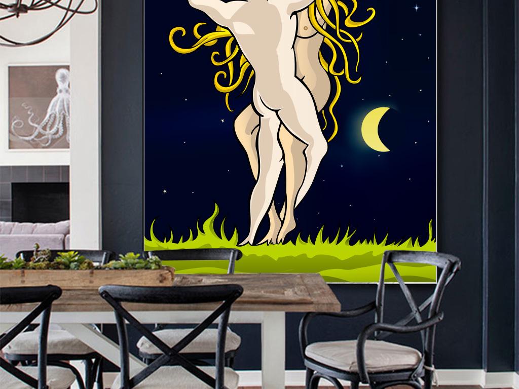 夜空现代手绘装饰画简约手绘简约手绘现代抽象图抽象背景抽象设计黑白