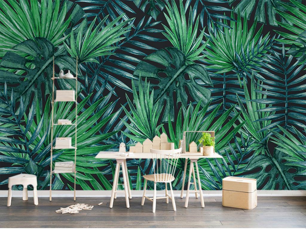 植物花卉欧式手绘陶瓷墙纸绿色竹子绿叶热带雨林热带树林雨林酒吧ktv