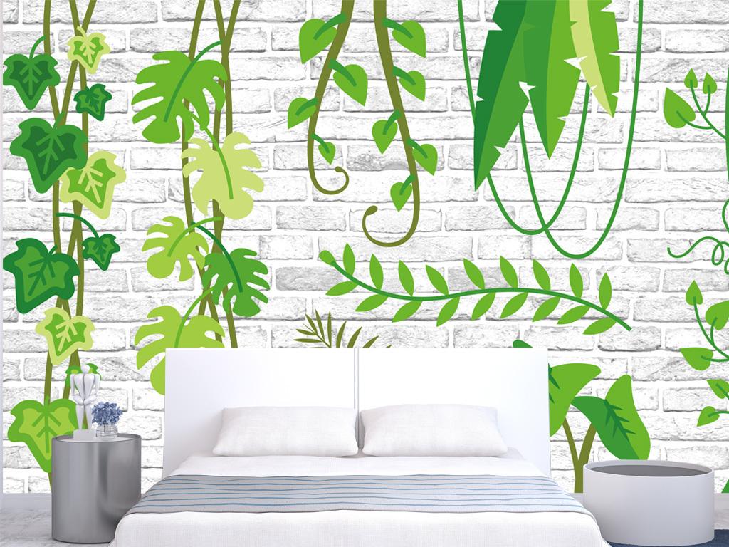 手绘花草热带植物藤蔓小清新森系叶子花草白砖墙装饰画墙纸壁纸田园绿