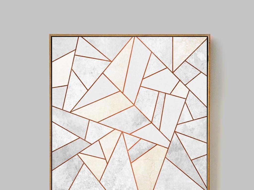 北欧抽象不规则金线色块酒店装饰画客厅挂画