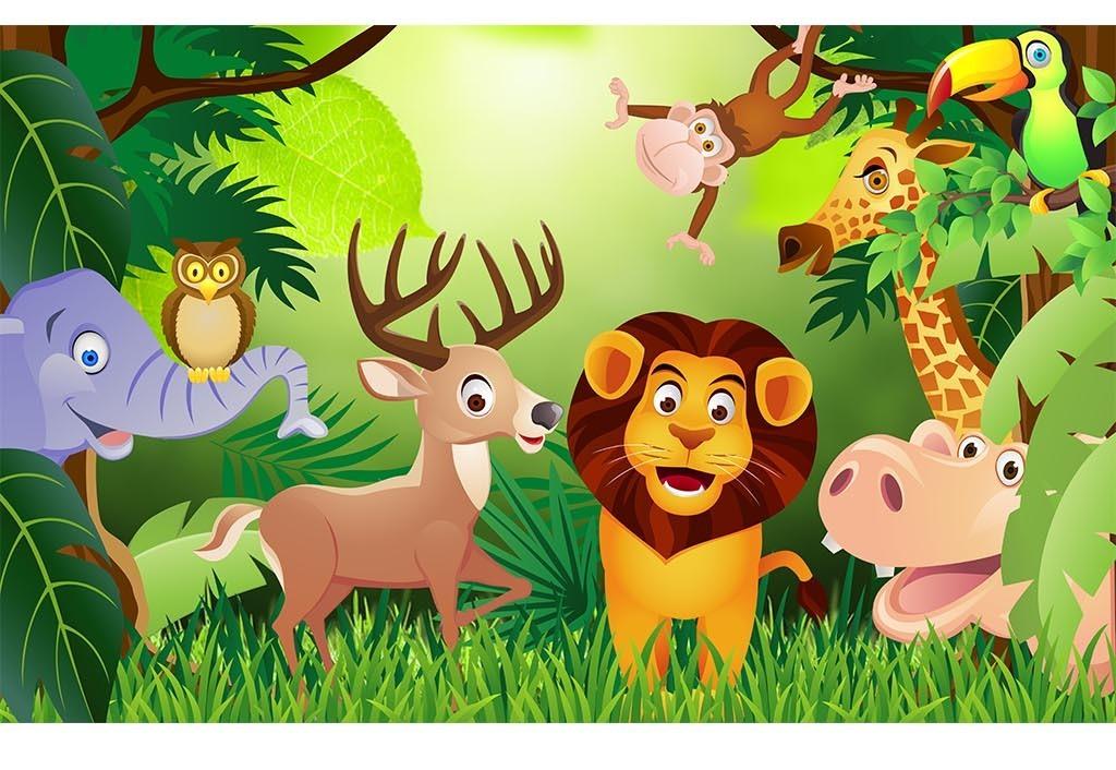 动物总动员儿童幼儿园背景墙设计模板