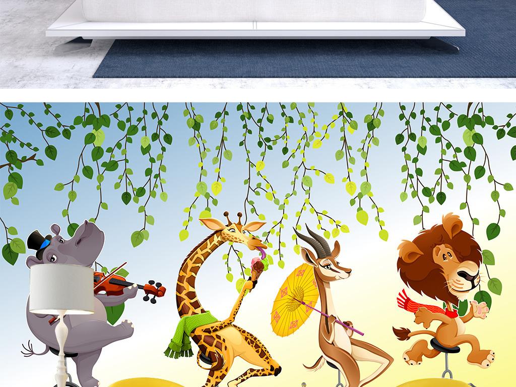 幼儿园动漫田园欧卡通背景卡通动物动物时尚背景卡通森林床头背景现代